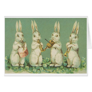Vintage Easter Bunny Orchestra Greeting Card