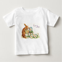 Vintage Easter Bunny Painting Easter Eggs Baby T-Shirt