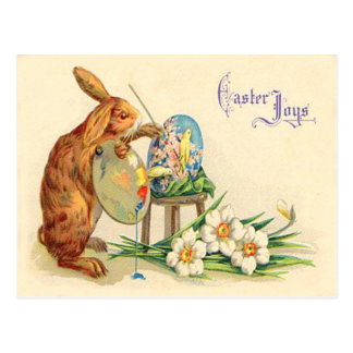 Vintage Easter Bunny Painting Easter Eggs Postcard