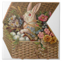 "Vintage Easter Bunny Rabbit and Eggs 6"" Tile"