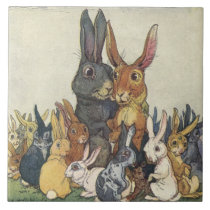 "Vintage Easter Bunny Rabbit and Family 6"" Tile"