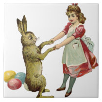 "Vintage Easter Bunny Rabbit and Friend 6"" Tile"