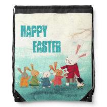 Vintage Easter Bunny Rabbit Family - Happy Easter Drawstring Backpack