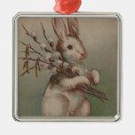 Vintage Easter Bunny Rabbit Metal Ornament