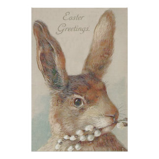 Vintage Easter Bunny Rabbit Poster