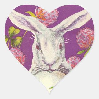 Vintage Easter Bunny Rabbit - Purple Heart Stickers