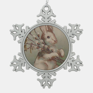 Vintage Easter Bunny Rabbit Snowflake Pewter Christmas Ornament