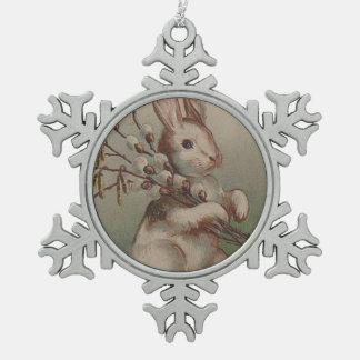 Vintage Easter Bunny Rabbit Snowflake Pewter Christmas Ornament