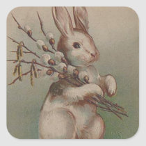 Vintage Easter Bunny Rabbit Square Sticker