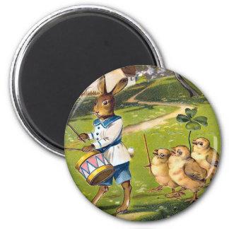 Vintage Easter Bunny Round Magnet