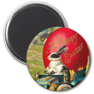 Vintage Easter Bunny Round Magnet 2 Inch Round Magnet
