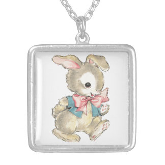 Vintage Easter Bunny Silver Plated Necklace