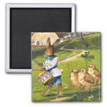 Vintage Easter Bunny Square Magnet