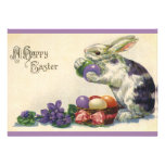 Vintage Easter Bunny w Easter Eggs; Happy Easter! Personalized Announcements