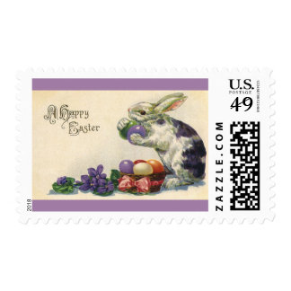 Vintage Easter Bunny w Easter Eggs; Happy Easter! Stamp
