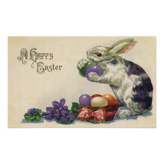 Vintage Easter Bunny w Easter Eggs; Happy Easter! Print