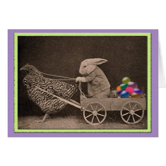 Vintage Easter Bunny with Chicken Card