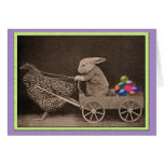 Vintage Easter Bunny with Chicken Greeting Card