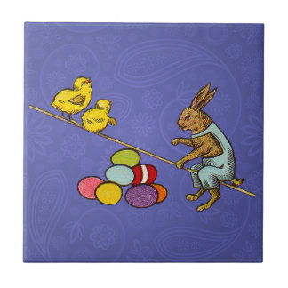 Vintage Easter Bunny with chicks and Easter eggs Ceramic Tile