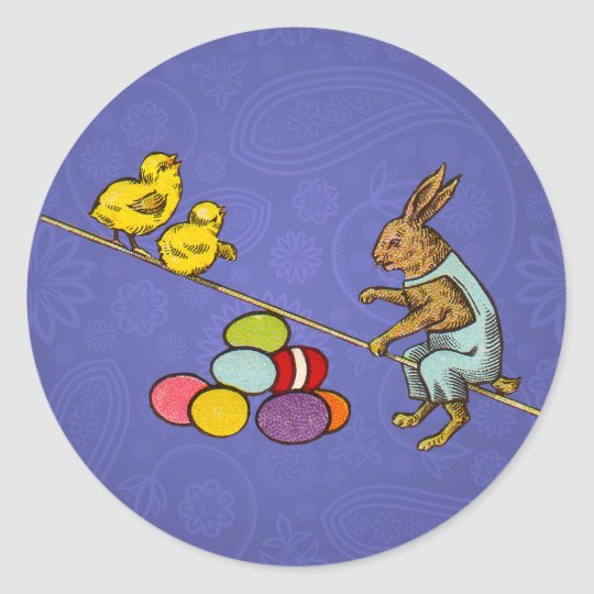 Vintage Easter Bunny with chicks and Easter eggs Classic Round Sticker