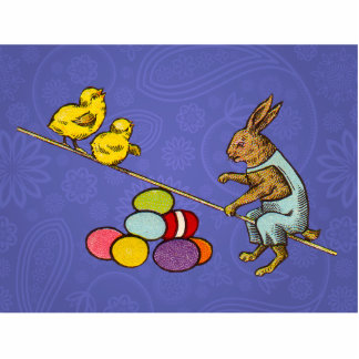 Vintage Easter Bunny with chicks and Easter eggs Cutout