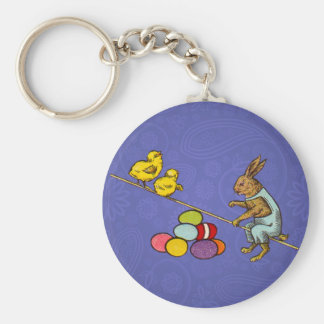 Vintage Easter Bunny with chicks and Easter eggs Keychain