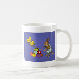 Vintage Easter Bunny with chicks and Easter eggs Coffee Mugs