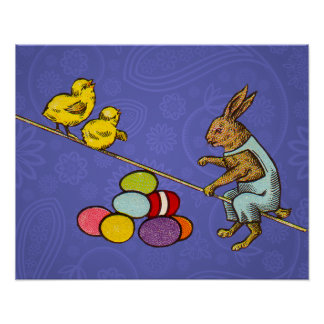 Vintage Easter Bunny with chicks and Easter eggs Poster