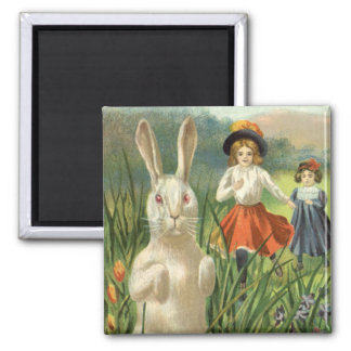 Vintage Easter Bunny with Eggs and Children 2 Inch Square Magnet