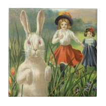 Vintage Easter Bunny with Eggs and Children Ceramic Tile