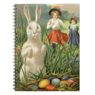 Vintage Easter Bunny with Eggs and Children Notebook