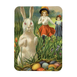 Vintage Easter Bunny with Eggs and Children Rectangular Photo Magnet