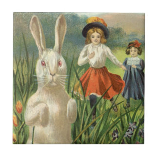 Vintage Easter Bunny with Eggs and Children Small Square Tile