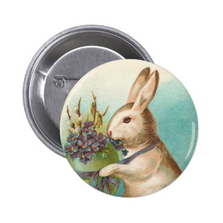 Vintage Easter Bunny With Green Egg 2 Inch Round Button