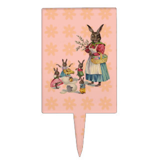 Vintage Easter Bunny with Spring Flowers Cake Toppers