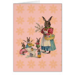 Vintage Easter Bunny with Spring Flowers Card