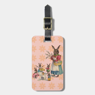 Vintage Easter Bunny with Spring Flowers Tag For Bags