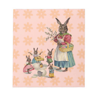 Vintage Easter Bunny with Spring Flowers Memo Notepad