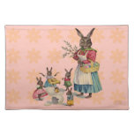 Vintage Easter Bunny with Spring Flowers Placemat
