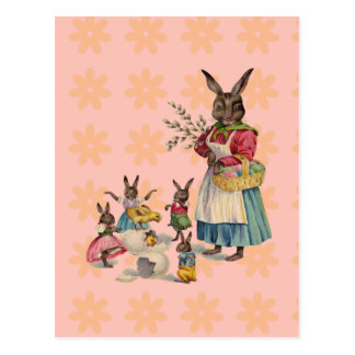 Vintage Easter Bunny with Spring Flowers Postcard