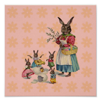Vintage Easter Bunny with Spring Flowers Poster