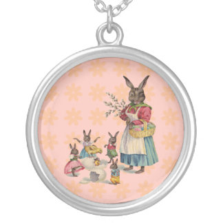 Vintage Easter Bunny with Spring Flowers Silver Plated Necklace