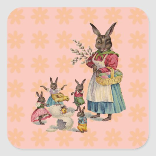 Vintage Easter Bunny with Spring Flowers Square Sticker