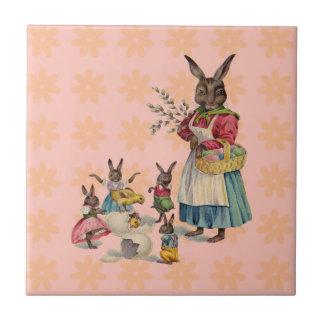 Vintage Easter Bunny with Spring Flowers Ceramic Tile