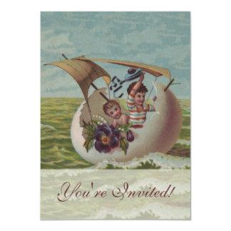 Vintage Easter Card Children Sailing
