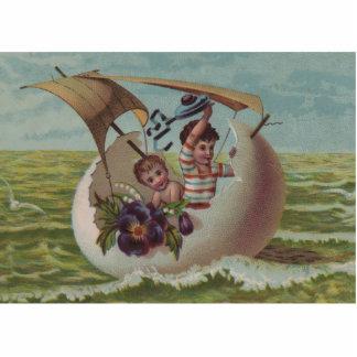 Vintage Easter Card Children Sailing Photo Sculpture Magnet