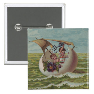 Vintage Easter Card Children Sailing Pinback Button