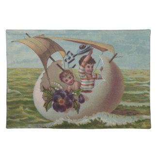 Vintage Easter Card Children Sailing Placemat