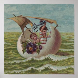 Vintage Easter Card Children Sailing Posters
