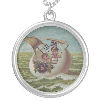 Vintage Easter Card Children Sailing Round Pendant Necklace